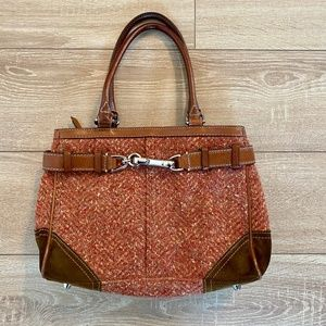 Coach Herringbone Hamptons Leather Suede Tweed Bag